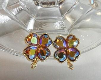 SALE Vintage Weiss Rhinestone Shamrock Earrings. 4 Leaf Clover. AB Rhinestones Earrings.