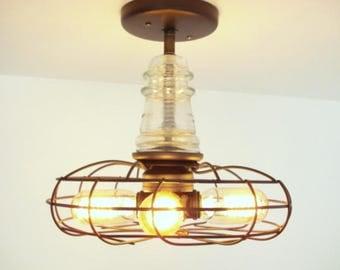 "INDUSTRIAL LIGHT Vintage ""Emerson Electric"" Fan Ceiling Flush Mount Farmhouse Lights Edison Bulbs & Glass Antique CLEAR Insulator LampGoods"