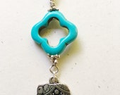 Reserved for Sharon Elephant Necklace Silver Turquoise Silk Road Travel Adventure by MinouBazaar