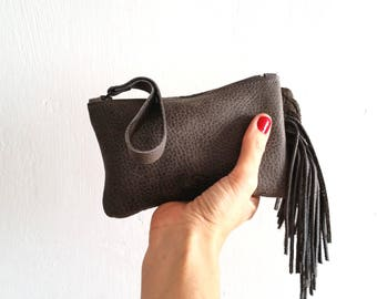 Fringes gray Leather pouch, Wallet, Small purse with Fringes