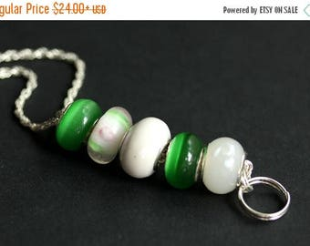 SUMMER SALE Badge Holder. White and Green Badge Lanyard. Beaded Lanyard. Id Lanyard. Green and White Badge Necklace. Handmade Lampwork Glass