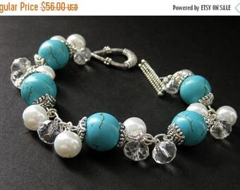 BACK to SCHOOL SALE Turquoise Howlite Charm Bracelet with White Pearl, Crystal and Silver. Handmade Jewelry by Gilliauna