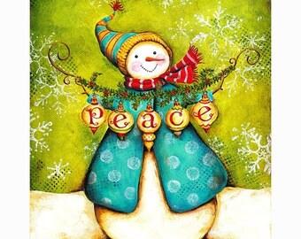 25% OFF PRINTS Ornaments of Peace Snowman Print 8x10