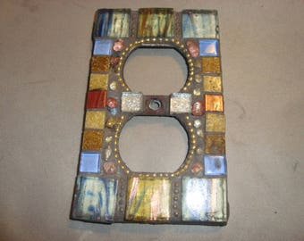 MOSAIC Electrical Outlet COVER , Wall Plate, Wall Art, Bronze, Brown, Silver, Gold, Blue