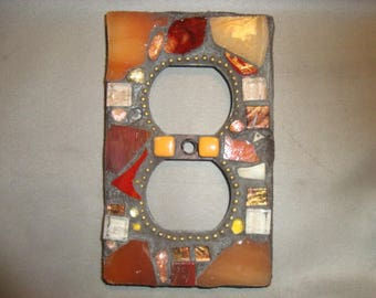 MOSAIC Electrical Outlet COVER , Plug, Wall Plate, Wall Art, Bronze, Brown, Gold, Orange