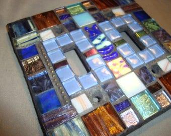 MOSAIC LIGHT SWITCH Cover - Wall Art,  Wall Plate, Boho, Blue, Multicolored, Shine