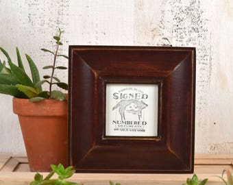 4x4 Picture Frame in Classy Style with Vintage Mahogany Finish - IN STOCK - Same Day Shipping - 4 x 4 Square Photo Frame Brown