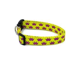 Magenta Pink Duchess Princess Crown on Fuschia Yellow Dog Collar