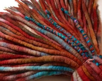 Spice Market - Wool Dreadlocks - Painterly Style - Set of 90 - with handspun wraps