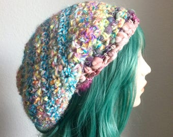 Dreadlock Hat - extra slouchy, handspun wool with sparkle, blues and pastels - one of a kind!