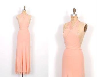 Vintage 1990s Dress / 90s Silk Halter Maxi Dress / Peach Pink ( medium M )