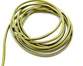 Wrapped silk cord, satin cord, golden green, 2 meters