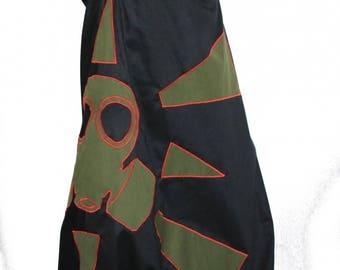 Unisex harem pants 'DGAz' gas mask harem pants with applique patterns and gas mask