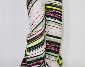 Ethnic pattern linen wide pants