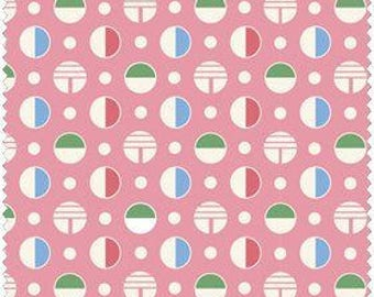 Fresh Water Designs/Reproduction Fabric/Pink Circles/Kimberlys Garden/Kig03 Pin/Quilt/Quilting/Vintage/Fabric by the yard/Yardage/Cotton