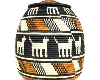 Strength zig zag Handmade Basket Home Decor OOAK