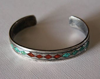 Silver Navajo Bracelet Vintage Inlaid