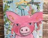 "Journal with original whimsical art on the cover, 5.9"" x 7.8"", 128 pages of blank paper, pig and bird, adventure"