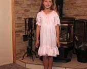 Knee Length Gown - Light Pink w/Light Pink Lace - Toddler and Girls Sized Tricot Pajamas - Pick A Color!