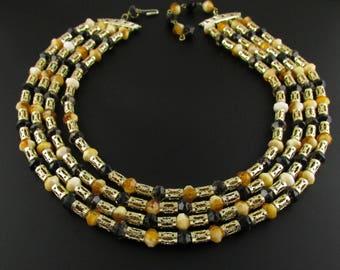 Multi Strand Necklace, Egyptian Revival Necklace, Bib Necklace, Statement Necklace, Hong Kong Necklace, Gold Necklace, Yellow Necklace