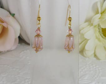 Earrings with Pink Glass Tulip Flowers Gifts for Her