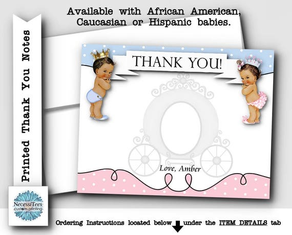 Printed Thank You Cards Baby Gender Reveal Baby Shower Royal – Baby Gender Announcement Cards
