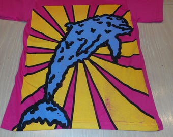 T-Shirt - Melty Dolphin (Blue/Yellow on Pink)