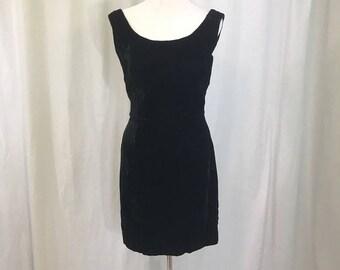 Vintage J.R. Nites by Caliendo Black Velvet Shift Dress 11/12
