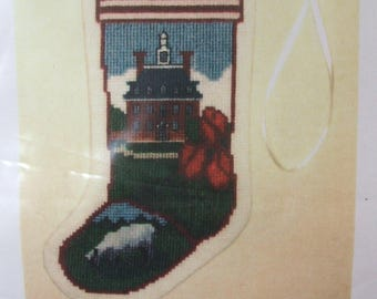 Historic Williamsburg Governor's Palace Stocking Ornament Posy Counted Cross Stitch Kit