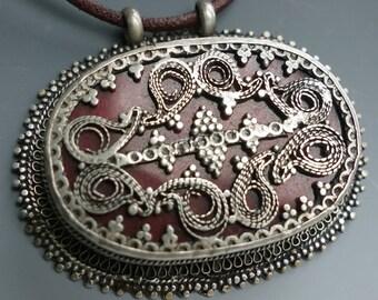Kazakh Central Asia Silver Glass Pendant