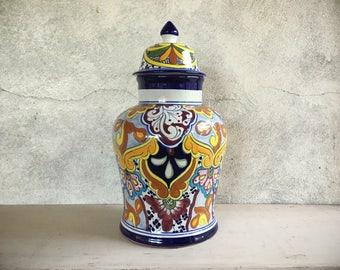 Large vintage Talavera lidded jar, Talavera pottery ginger jar tibor, Mexican pottery Majolica pottery urn, Mexican decor, rustic home decor
