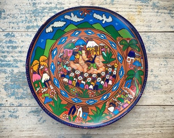 """Vintage 10"""" Mexican pottery storyteller plate of Matachine dance folk art gift for gardener"""