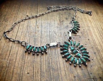 Vintage silver and malachite Zuni petit point necklace with handmade chain Native American