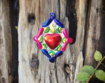 Vintage Mexican Tin Ornament Sacred Heart Christmas Decorations