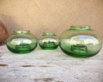 Three Mexican Blown Glass Votive Candle Holders Green Glass Candleholders Christmas Decor