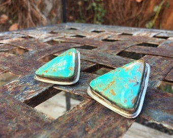 Vintage Signed Navajo Jewelry Large Turquoise Earrings Silver Post Earrings, Turquoise Jewelry