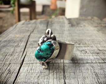 Natural Turquoise Ring Women's Size 8.5, Chunky Turquoise Jewelry, Modernist Native American