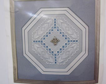 Rare Nordic Needle Hardanger Embroidery Kit, BLUE BOUQUET, 1997 NIB