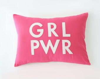 GRL PWR • Girl Power Pillow • Gift for Girl • Girl Strong • Kids Bedroom Decor