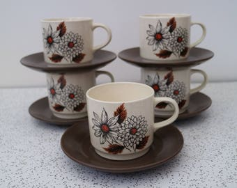 russet...set of five 1970s vintage johnson of australia coffee or tea cups and saucers