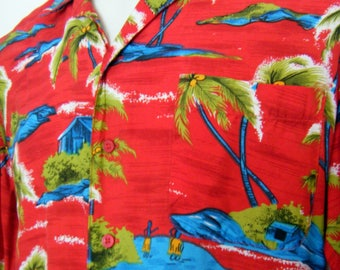 Vintage Red RAYON HAWAIIAN SHIRT, 70s / 80s  mens size m