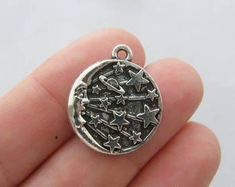 4  Moon stars saturn charms antique silver tone M78