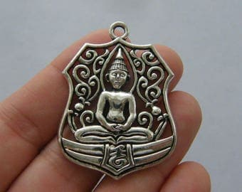 2 Buddha pendants antique silver tone R15