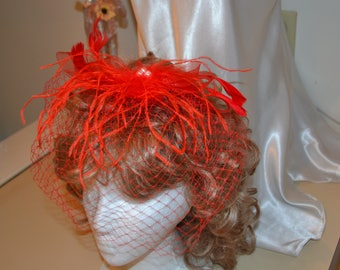 red Birdcage Veil- red Feather Fascinator- Cocktail Hat- red Fascinator- red Wedding Hat- Mother of the Bride- Church Hat- Derby Hat