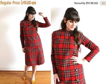 ON SALE 60s Dress / 1960s Red Mod Wool Plaid Dress