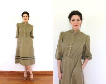 Vintage Khaki Dress / Tan Dress / 1980s Dress / 80s Khaki Dress / 1980s Tan Khaki Pintucked Striped Prairie Dress