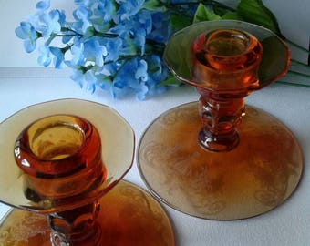 Two Vintage Glass Candle Holders