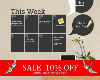 Summer Sale - Weekly Planner Chalkboard Calendar - Modern Vinyl Wall Decal