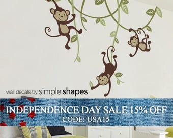 Independence Day Sale - Wall Decal kids, 3 Monkeys Swinging From Vines Wall Decal, Swinging Monkey - Nursery Wall Decal - Nursery Decals