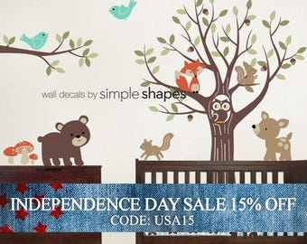 Independence Day Sale - Tree with Forest Friends Decal Set - Kid's Nursery Room Wall Sticker